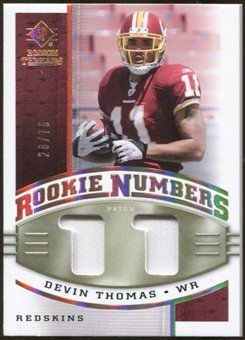 2008 Upper Deck SP Rookie Threads Rookie Numbers Holofoil Patch 75 #RNDT Devin Thomas /75