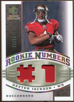 2008 Upper Deck SP Rookie Threads Rookie Numbers Holofoil Patch #RNDX Dexter Jackson /75