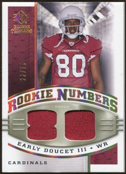 2008 Upper Deck SP Rookie Threads Rookie Numbers Holofoil Patch #RNED Early Doucet /75