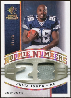 2008 Upper Deck SP Rookie Threads Rookie Numbers Holofoil Patch #RNFJ Felix Jones /75