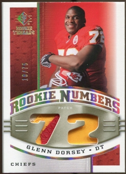 2008 Upper Deck SP Rookie Threads Rookie Numbers Holofoil Patch #RNGD Glenn Dorsey /75