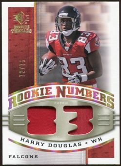 2008 Upper Deck SP Rookie Threads Rookie Numbers Holofoil Patch 75 #RNHD Harry Douglas /75