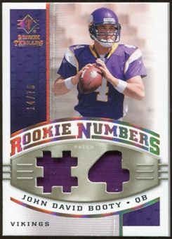 2008 Upper Deck SP Rookie Threads Rookie Numbers Holofoil Patch #RNJB John David Booty /75