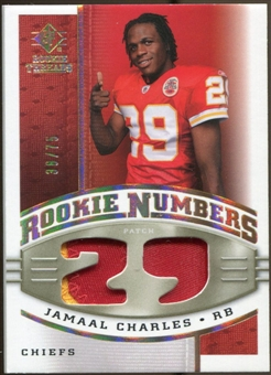 2008 Upper Deck SP Rookie Threads Rookie Numbers Holofoil Patch #RNJC Jamaal Charles /75
