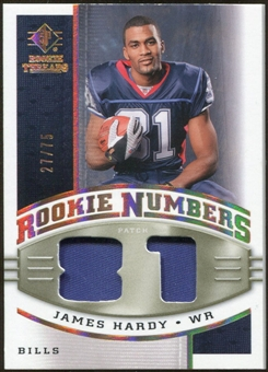 2008 Upper Deck SP Rookie Threads Rookie Numbers Holofoil Patch #RNJH James Hardy /75