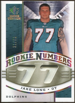 2008 Upper Deck SP Rookie Threads Rookie Numbers Holofoil Patch #RNJL Jake Long /75