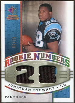 2008 Upper Deck SP Rookie Threads Rookie Numbers Holofoil Patch #RNJS Jonathan Stewart /75
