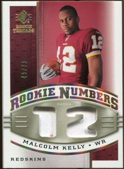 2008 Upper Deck SP Rookie Threads Rookie Numbers Holofoil Patch 75 #RNMK Malcolm Kelly /75