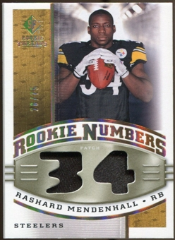 2008 Upper Deck SP Rookie Threads Rookie Numbers Holofoil Patch #RNRM Rashard Mendenhall /75