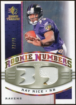 2008 Upper Deck SP Rookie Threads Rookie Numbers Holofoil Patch 75 #RNRR Ray Rice /75