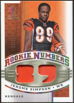 2008 Upper Deck SP Rookie Threads Rookie Numbers Holofoil Patch #RNSI Jerome Simpson /75
