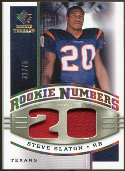 2008 Upper Deck SP Rookie Threads Rookie Numbers Holofoil Patch #RNSS Steve Slaton /75