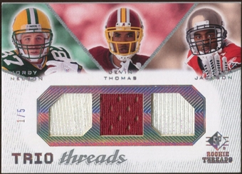 2008 Upper Deck SP Rookie Threads Trio Threads 5 #TTJNT Jordy Nelson/Devin Thomas/Dexter Jackson /5