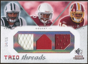2008 Upper Deck SP Rookie Threads Trio Threads #TTKDK Dustin Keller Early Doucet Malcolm Kelly 14/15