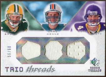 2008 Upper Deck SP Rookie Threads Trio Threads #TTBHB Brian Brohm Chad Henne John David Booty /60