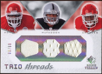 2008 Upper Deck SP Rookie Threads Trio Threads #TTDMC Glenn Dorsey Darren McFadden Jamaal Charles /60