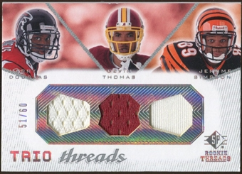 2008 Upper Deck SP Rookie Threads Trio Threads 60 #TTDTS Harry Douglas/Devin Thomas/Jerome Simpson /60
