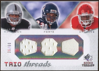 2008 Upper Deck SP Rookie Threads Trio Threads #TTMFC Darren McFadden Matt Forte Jamaal Charles /60