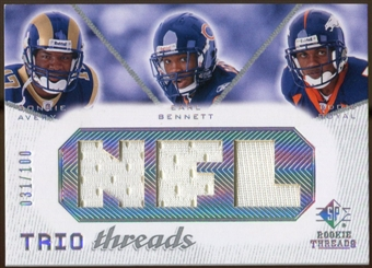 2008 Upper Deck SP Rookie Threads Trio Threads 100 #ABR Donnie Avery/Earl Bennett/Eddie Royal /100