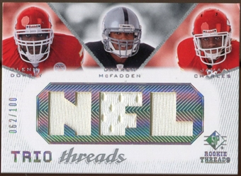 2008 Upper Deck SP Rookie Threads Trio Threads 100 #DMC Glenn Dorsey/Darren McFadden/Jamaal Charles /100