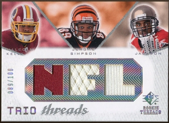 2008 Upper Deck SP Rookie Threads Trio Threads 100 #JKS Malcolm Kelly/Jerome Simpson/Dexter Jackson /100