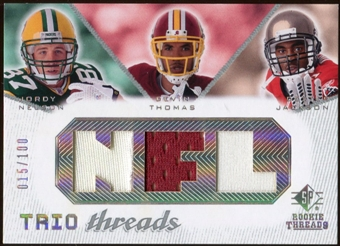 2008 Upper Deck SP Rookie Threads Trio Threads #JNT Jordy Nelson Devin Thomas Dexter Jackson 15/100