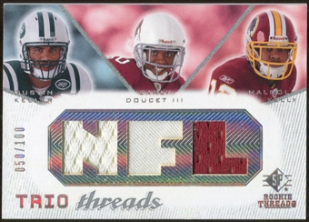 2008 Upper Deck SP Rookie Threads Trio Threads 100 #KDK Dustin Keller/Early Doucet/Malcolm Kelly /100