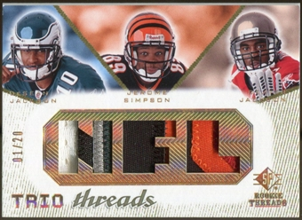 2008 Upper Deck SP Rookie Threads Trio Threads Patch #TTJJS DeSean Jackson Jerome Simpson Dexter Jackson /20