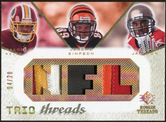 2008 Upper Deck SP Rookie Threads Trio Threads Patch 20 #TTJKS Malcolm Kelly/Jerome Simpson/Dexter Jackson /20