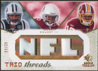 2008 Upper Deck SP Rookie Threads Trio Threads Patch #TTKDK Dustin Keller Early Doucet Malcolm Kelly /20