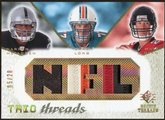 2008 Upper Deck SP Rookie Threads Trio Threads Patch #TTLMR Darren McFadden Jake Long Matt Ryan 5/20
