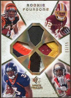 2008 Upper Deck SP Rookie Threads Rookie Threads Foursome Patch #RFJCRK Caldwell Royal Kelly Jackson 13/15