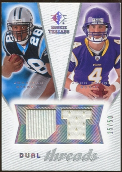 2008 Upper Deck SP Rookie Threads Dual Threads 50 #DTJJ Jonathan Stewart/John David Booty /50