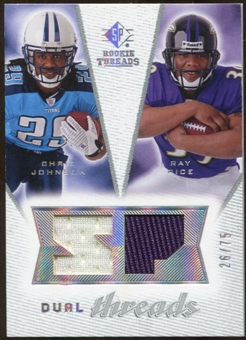 2008 Upper Deck SP Rookie Threads Dual Threads/75 #DTRJ Chris Johnson Ray Rice /75