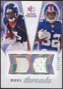 2008 Upper Deck SP Rookie Threads Dual Threads #DTMR Eddie Royal Mario Manningham /160