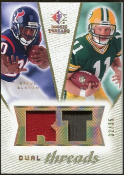 2008 Upper Deck SP Rookie Threads Dual Threads Patch #DTBS Steve Slaton Brian Brohm /35