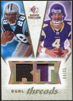 2008 Upper Deck SP Rookie Threads Dual Threads Patch 35 #DTJJ Jonathan Stewart/John David Booty /35