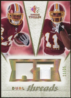 2008 Upper Deck SP Rookie Threads Dual Threads Patch #DTKT Malcolm Kelly Devin Thomas /35