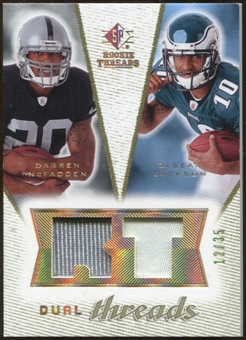 2008 Upper Deck SP Rookie Threads Dual Threads Patch #DTMJ Darren McFadden DeSean Jackson /35