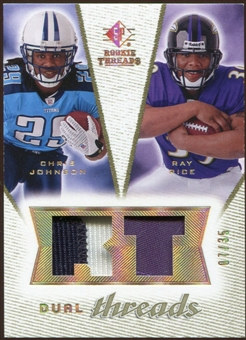 2008 Upper Deck SP Rookie Threads Dual Threads Patch #DTRJ Chris Johnson Ray Rice /35
