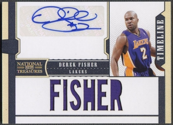 2010/11 Playoff National Treasures #17 Derek Fisher Timeline Custom Names Signatures Jersey Auto #28/30