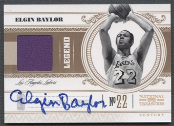 2010/11 Playoff National Treasures #154 Elgin Baylor Century Materials Signatures Jersey Auto #03/25