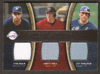 2008 Upper Deck Sweet Spot Swatches Triple #TFPB Ryan Braun Hunter Pence Jeff Francoeur