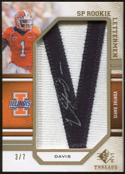 2009 Upper Deck SP Threads Rookie Lettermen Autographs Gold #259 Vontae Davis* Autograph /35