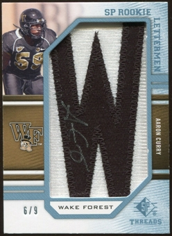 2009 Upper Deck SP Threads Rookie Lettermen College Autographs #225 Aaron Curry* Autograph /90