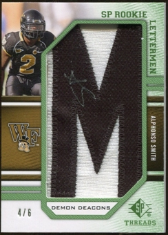 2009 Upper Deck SP Threads Rookie Lettermen College Nickname Autographs #252 Alphonso Smith* Autograph /72