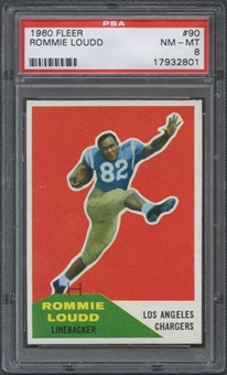 1960 Fleer Football #90 Rommie Loudd PSA 8 (NM-MT) *2801