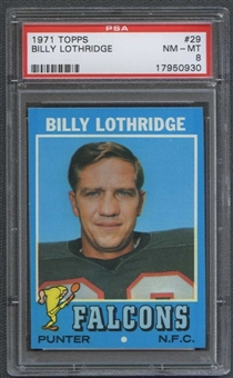 1971 Topps Football #29 Billy Lothridge PSA 8 (NM-MT) *0930