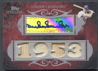 2008 Topps Sterling #4CSA23 Duke Snider Career Stats Quad Jersey Bat Auto #08/10