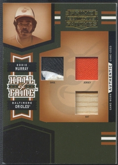 2005 Prime Patches #2 Eddie Murray Hall of Fame Materials Triple Swatch Jersey Shoe Bat #06/42